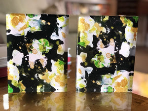 Black with White and Yellow Flowers 6x8 Acrylic Block Set