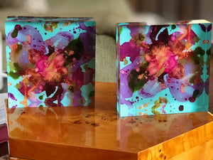 Blue 4x4 Acrylic Floral Block Set