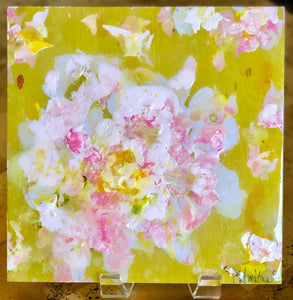 'Blush Peony' Acrylic & Resin on Panel