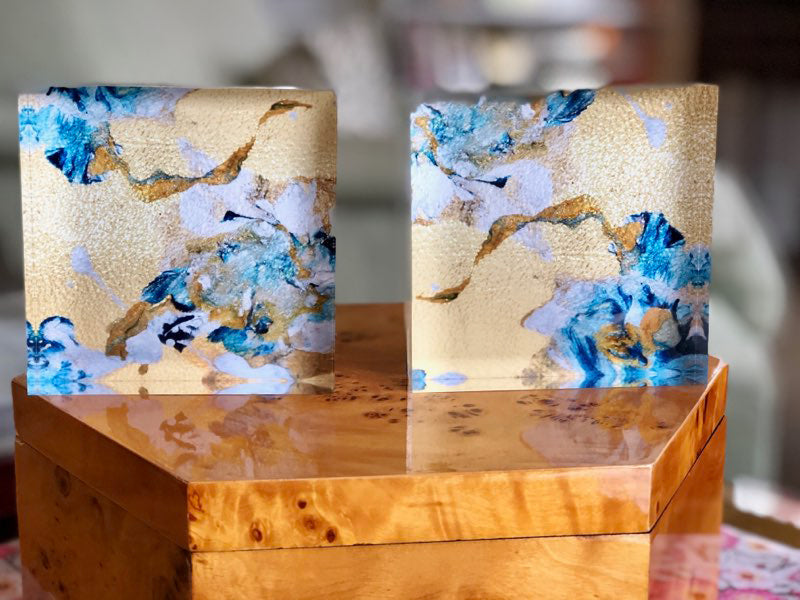Gold 4x4 Acrylic Floral Block Set