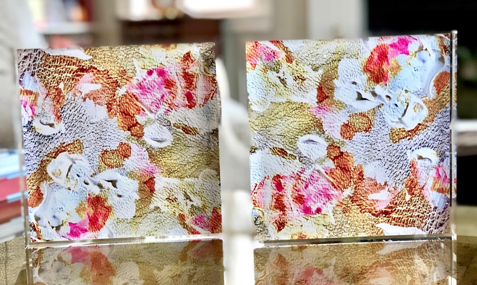 Gold and Bronze 8x8 Acrylic Floral Block Set