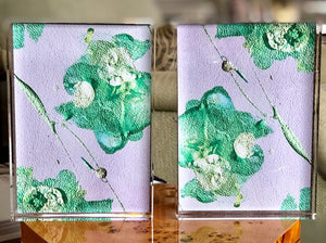 Grey with Green Flowers 5x7 Acrylic Block Set