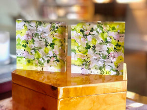 Grey with Green and Pink 4x4 Acrylic Floral Block Set