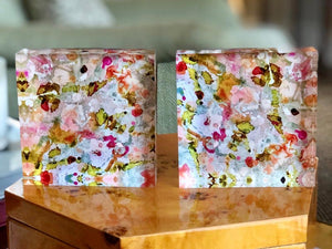 Grey with Red and Pink 4x4 Acrylic Floral Block Set