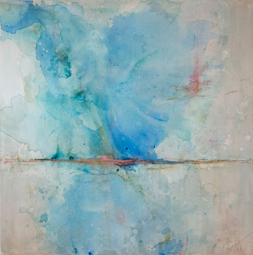 'Lagoon' 48x48 Abstract Painting