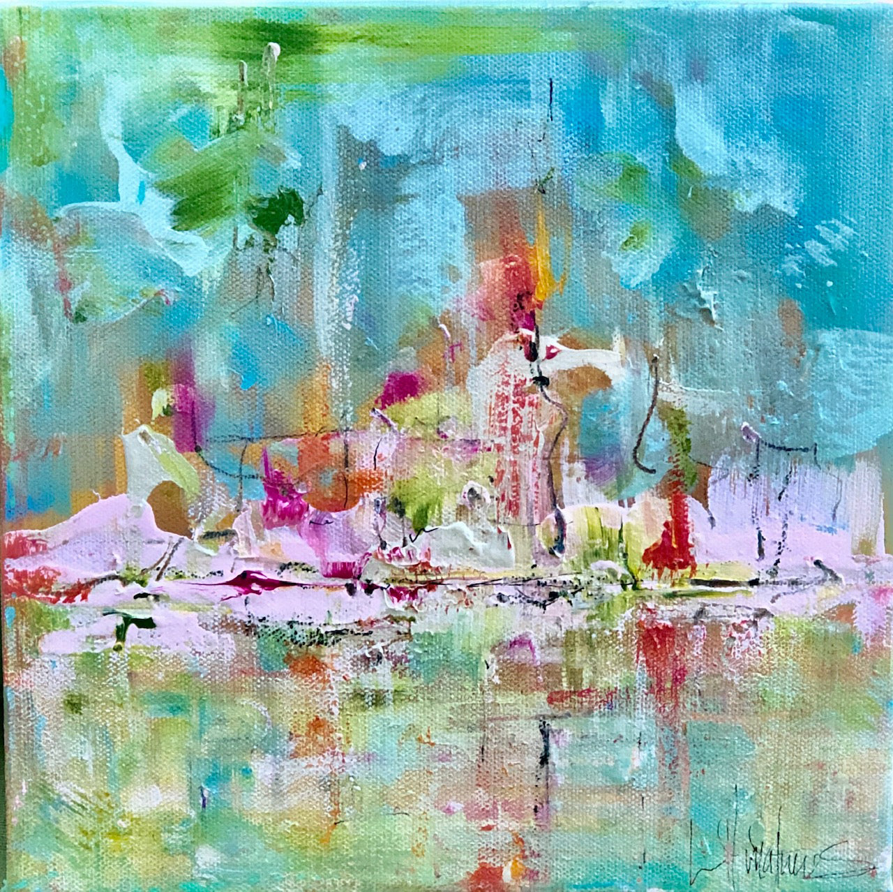'May Pole' 10 x 10 Abstract Painting