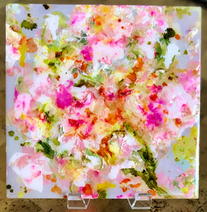 'Peony Pink' Acrylic & Resin on Panel