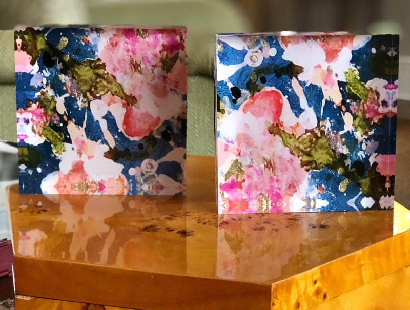 Pink and Blue 4x4 Acrylic Floral Block Set