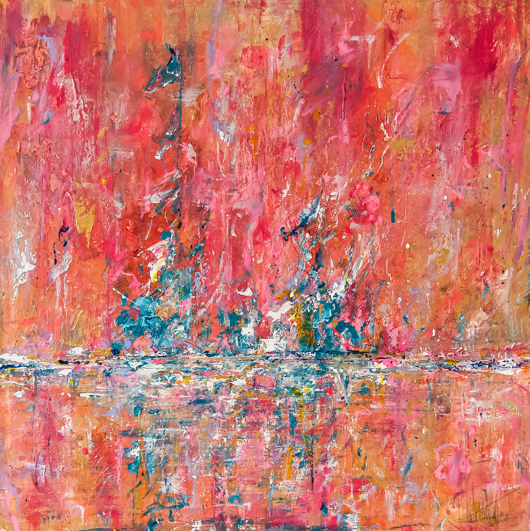 'Red Tides' 30x30 Abstract Painting