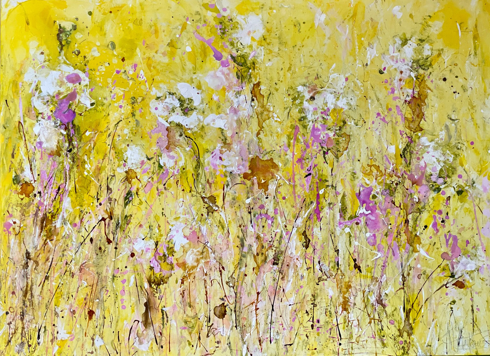 'Spring Fling' 36x48 Abstract Floral Painting