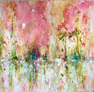 'Tickled Pink' 24x24 Abstract Painting