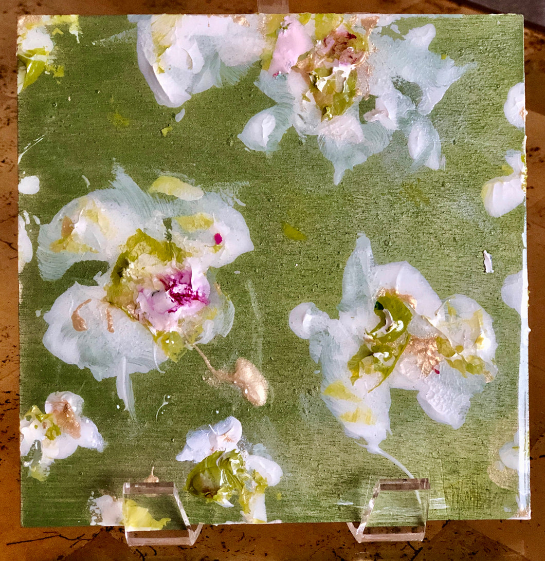 'White Peony II' Acrylic & Resin on Panel