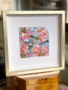 Pink and Blue Flower Leatherette