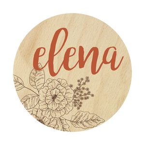 Laser Engraved and 3D Floral Name Sign - Roses