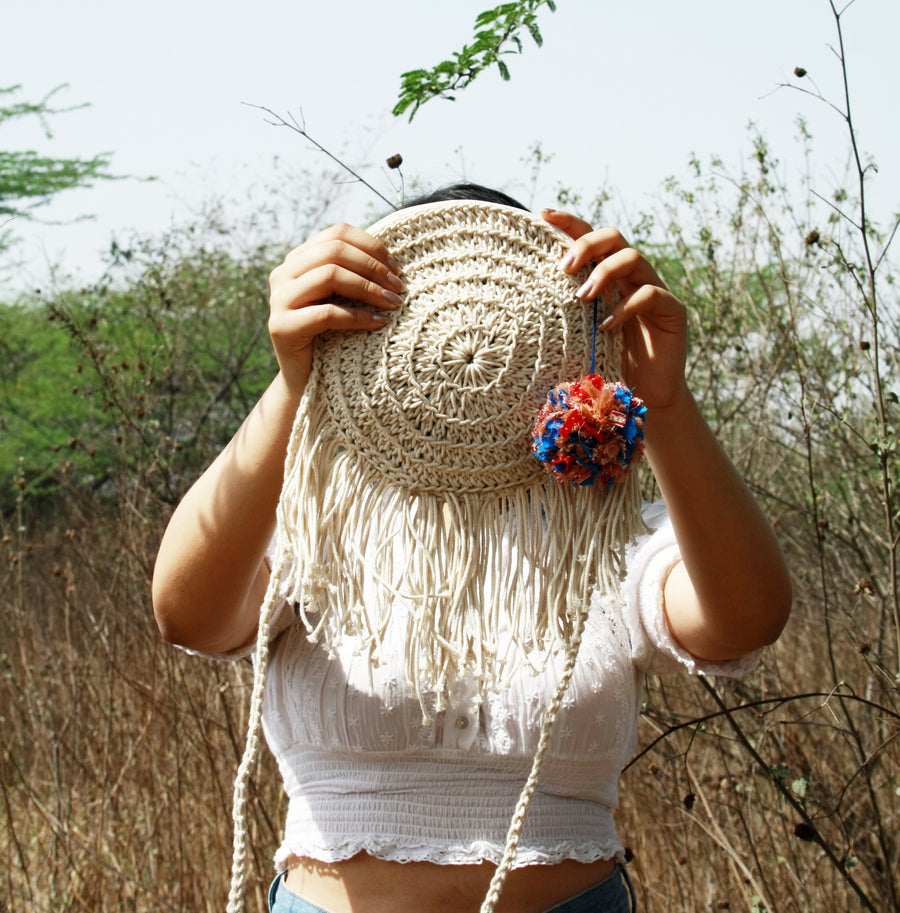 Miniature Round Bag with Tassels