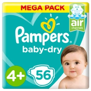 Pampers Baby Dry Nappies Size 4 Plus