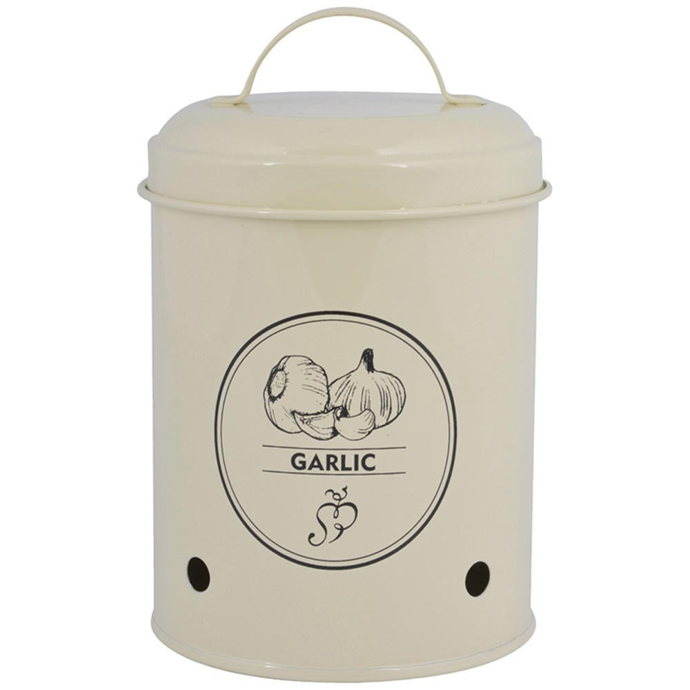 Storage tin garlic. Carbon Ste