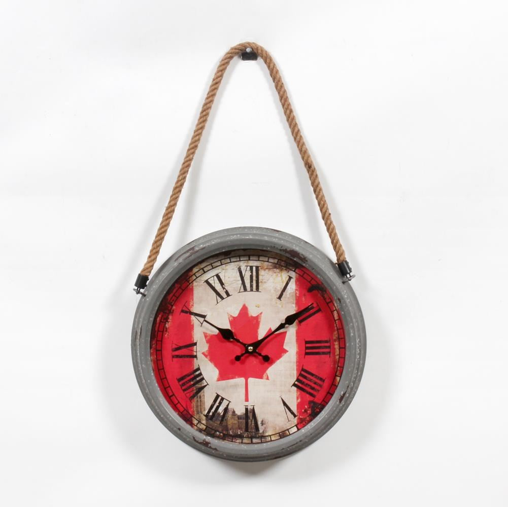 Canada Flag Wall Clock w/rope