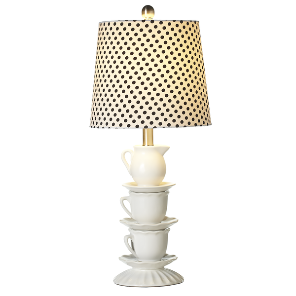 Stacked Teacup Table Lamp with Polka Dot Shade