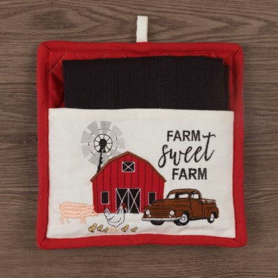 Farm Memories - Pot Holder And Tea Towel