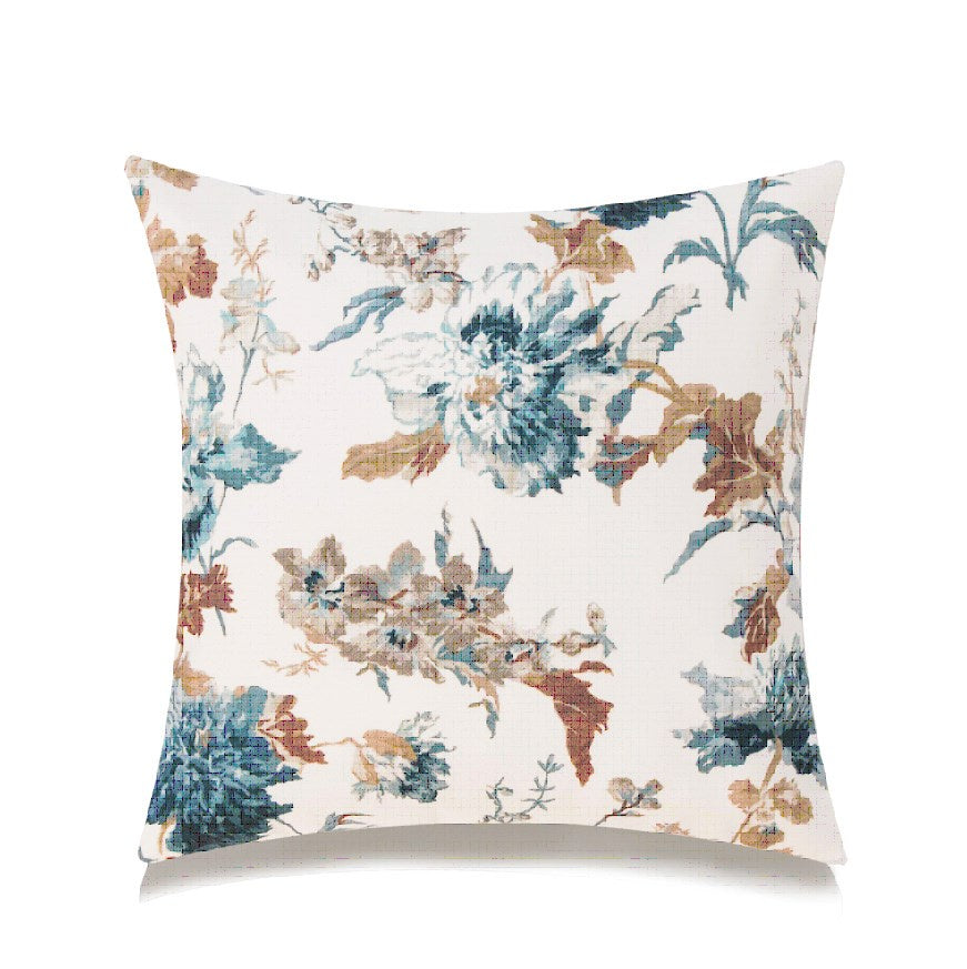 BLUE AND BROWN FLORAL ACCENT CUSHION WITH FEATHER INSERT