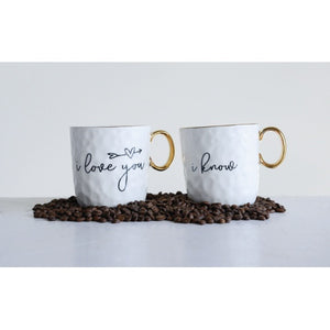 STONEWARE MUG W/ SAYING & GOLD PLATING