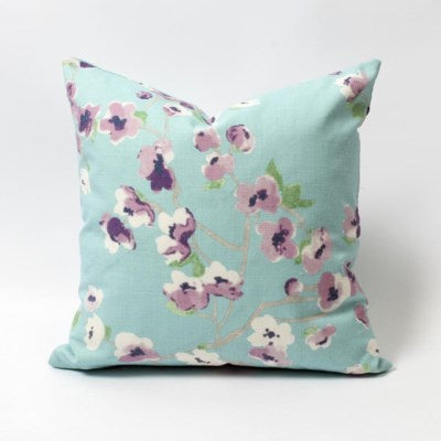 Blue Floral Cushion - Cherry Blossom