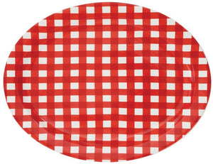 STONEWARE PLATTER, RED GINGHAM