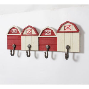 Red/White Farmhouse Wall Decor w/Hooks