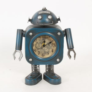 Blue Smiling Robot Table Clock