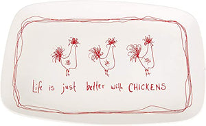 "STONEWARE PLATTER ""LIFE IS JUST BETTER WITH CHICKENS"""