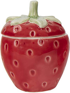 STONEWARE STRAWBERRY JAR , RED & GREEN