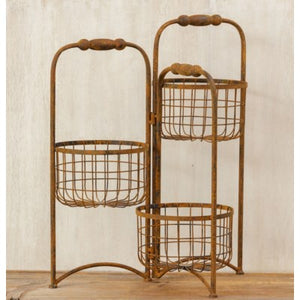 Metal Basket Stand - 3 Containers