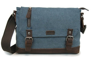 Canvas Shoulder Bag w/Leather Trim