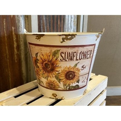 Cream Distressed Sunflower Bucket