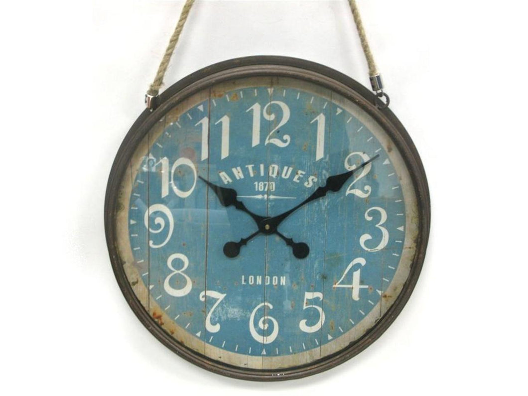 Distressed Round Metal Clock