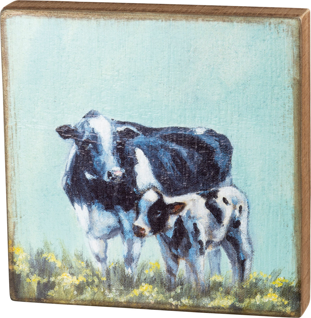 BOX SIGN - COW AND CALF