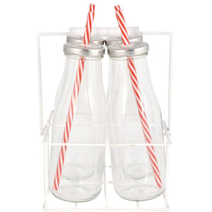 Set of 4 Bottles with Straws