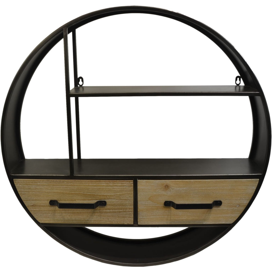 Metal round wall shelf with drawers