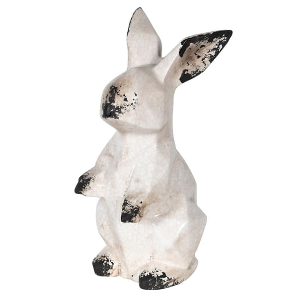 Angular Ceramic Rabbit in Distressed Finish Homeware Coach House