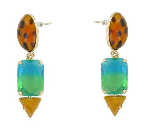 Animal and Ombre Tiki Jungle Earrings Jewellery Philippe Ferrandis