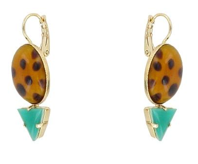 Animal and Teal Tiki Jungle Earrings Jewellery Philippe Ferrandis