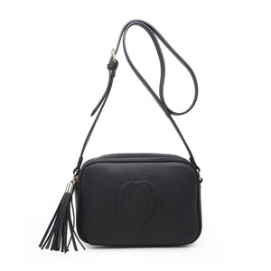 Black CC Leather Look Crossbody Accessories House of Milan