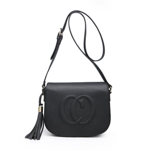 Black CO Leather Look Crossbody Accessories House of Milan