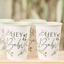 Load image into Gallery viewer, Botanical Hey Baby Shower Cups Party Ginger Ray