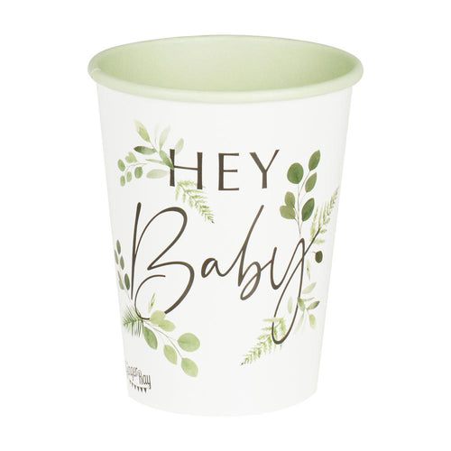 Botanical Hey Baby Shower Cups Party Ginger Ray