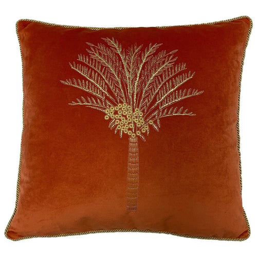Burnt Orange Desert Palm Velvet Cushion Soft Furnishing Riva Home