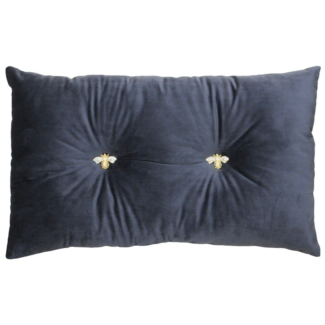 Charcoal Cushion with Bee Detail Soft Furnishing Riva Home