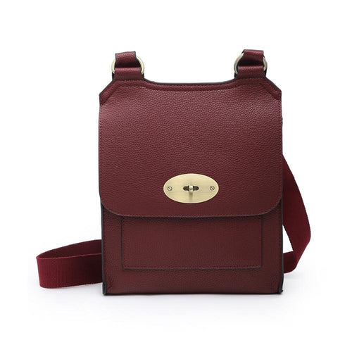 Claret Leather Look Crossbody Accessories House of Milan