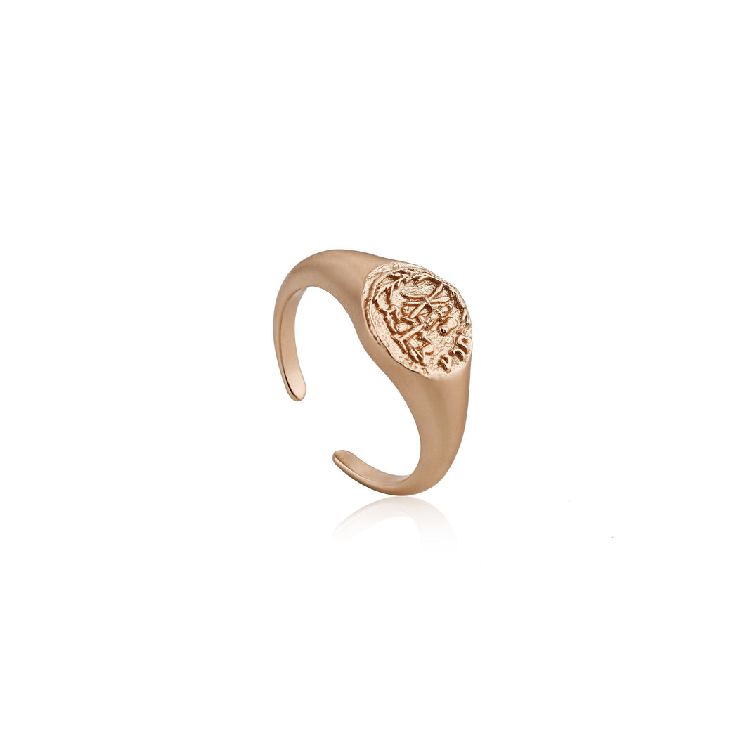 Coins Rose Gold Adjustable Signet Ring Jewellery Ania Haie